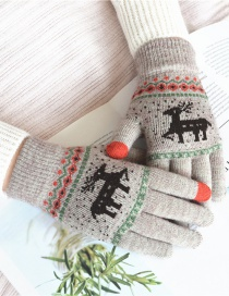 Fashion Khaki Fawn Christmas Plus Velvet Knitted Wool Touch Screen Gloves