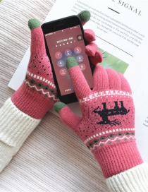 Fashion Rose Red Fawn Christmas Plus Velvet Knitted Wool Touch Screen Gloves