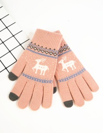 Fashion Pink Fawn Christmas Plus Velvet Knitted Wool Touch Screen Gloves