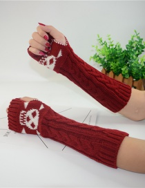 Fashion Red Long-sleeved Half-finger Gloves
