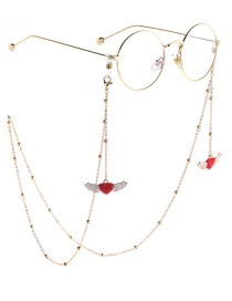 Fashion Gold Heart Wings Beaded Metal Chain Glasses Chain