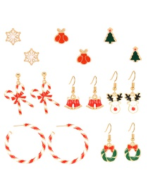 Fashion Color Christmas Earrings Earrings Set Of 8