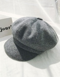 Fashion Solid Color Octagonal Hat Gray Woolen Beret  Hairy