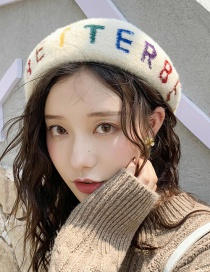 Fashion One Circle Of Letters Beige Letter Beret  Hairy