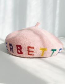 Fashion A Circle Of Letters Pink Letter Beret  Hairy