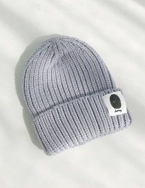 Fashion Handprinted Gray Cloth-knitted Baby Wool Hat  Wool