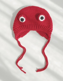 Fashion Frog Red Cartoon Frog Big Eye Wool Cap  Wool