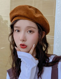 Fashion Overlapping Letter K Coffee Corduroy Beret