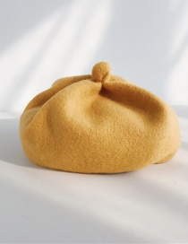 Fashion Solid Color Pumpkin Cap Turmeric Wool Button Beret