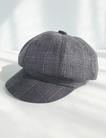 Fashion Light Plate Lattice Octagonal Dark Gray Plaid Beret