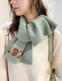 Fashion 1976 Green Knitted Digital Short Scarf