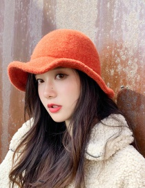 Fashion Brushed Light Board Knitted Orange Wool Knit Fisherman Hat