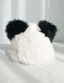 Fashion Rabbit Fur Panda Hat White Hat Black Ear Cat Ear Knit Wool Cap