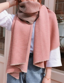 Fashion Gradient Pleated Gray Orange Imitation Cashmere Scarf Shawl Dual Purpose