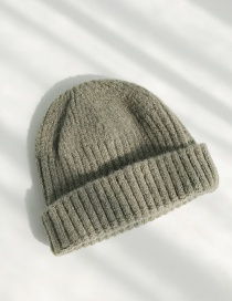 Fashion Short Mohair Army Green Knitted Wool Cap
