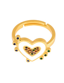 Fashion White Copper Plated Gold Drop Love Heart Ring