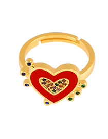 Fashion Red Copper Plated Gold Drop Love Heart Ring