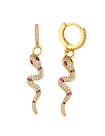 Fashion Gold Serpentine Inlaid Zircon Earrings