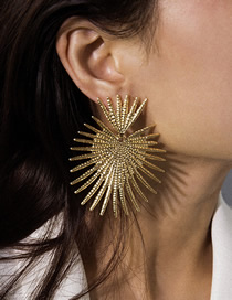 Fashion Gold Heart-shaped Fan-shaped Fringe Geometric Earrings
