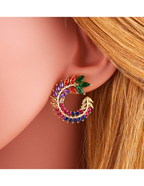Fashion Color Olive Branch C-shaped Set With Colored Zircon Earrings