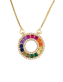 Fashion Circle Colored Zircon Geometric Round Curved Necklace