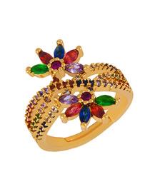 Fashion Flower Zircon Full Diamond Flower Opening Ring