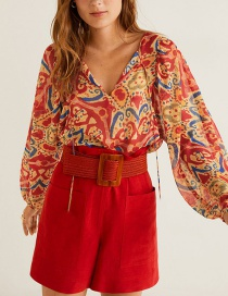 Fashion Red Tethered Puff Sleeve V-neck Shirt