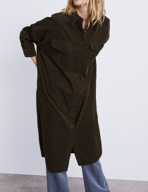 Fashion Armygreen Corduroy Jacket