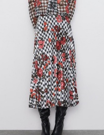 Fashion Color Pleated Print Skirt