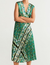 Fashion Green Printed Tube Pleated Dress