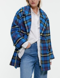 Fashion Blue Plaid Suit Woolen Coat