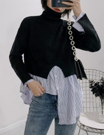Fashion Black Striated Striped High Collar Bottoming Sweater