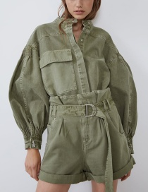 Fashion Armygreen Pocket Pleated Shirt Coat