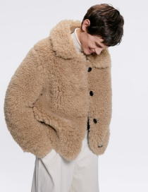 Fashion Camel Faux Fur Effect Coat Jacket