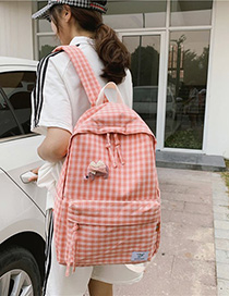 Fashion Pink Plaid Backpack
