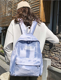 Blue Silicone Letter Labeling Canvas Backpack