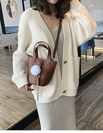 Coffee Color Hair Ball Shoulder Bag Diagonal Cross Package