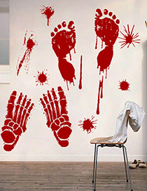 Fashion Multicolor Sk31008 Halloween Blood Hand Blood Footprint Haunted House Wall Sticker