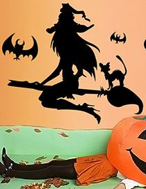 Fashion Multicolor Kst-30 Halloween Witch Broom Bat Wall Sticker