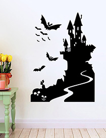 Fashion Multicolor Aw9423 Halloween Bat Castle Wall Sticker