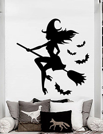 Fashion Multicolor Kst-52 Halloween Witch Riding Broom Wall Sticker