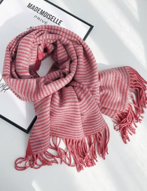 Fashion Solid Color Stripe Double-sided Wine Red Striped Double-faced Cashmere Scarf Shawl