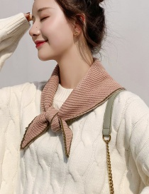 Fashion Double-sided Triangle Pink + Army Green Double-knit Wool Scarf