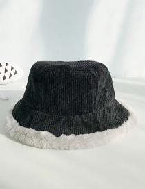 Fashion Corduroy Black Imitation Rabbit Fur Stitching Flat Top Children's Big Pot Cap