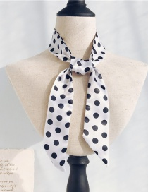 Fashion Black Spots On White Long Narrow Scarf