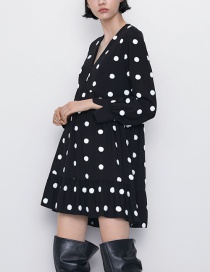 Fashion Black Embroidered Dot Dress