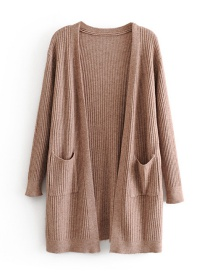 Fashion Brown Pocket Knit Cardigan