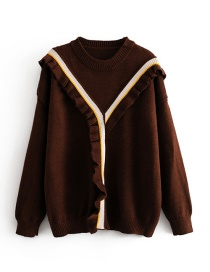 Fashion Brown Ruffled Pullover