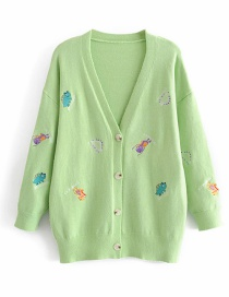 Fashion Green Cartoon Embroidered Button-down Cardigan