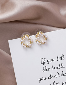 Fashion Gold 925 Silver Needle Pearl Garland Rhinestone Ring Earrings